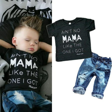 - Newborn Toddler Infant Kid Baby Boy Clothes T-shirt Top Tee + Denim Pants Outfits Set