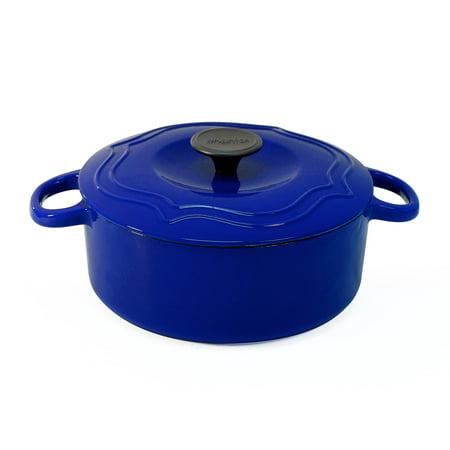 Chantal 5 Quart Porcelain Enameled Covered Cast Iron Dutch Oven Pot, Cobalt Blue - Porcelain Pots