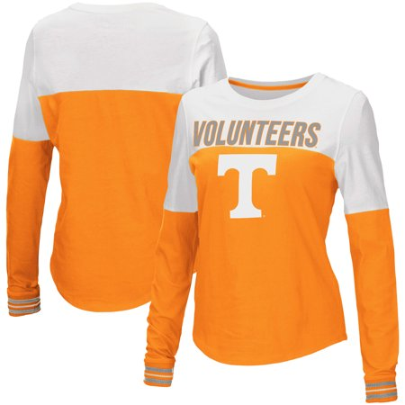 Tennessee Volunteers Ncaa Stripes - Tennessee Volunteers Colosseum Women's Charlotte Spiral Striped Cuffs Long Sleeve T-Shirt - Tennessee Orange