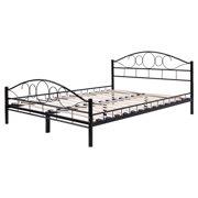 new twin size wood slats steel bed frame platform headboard footboard bedroom black - Twin Size Wood Bed Frame