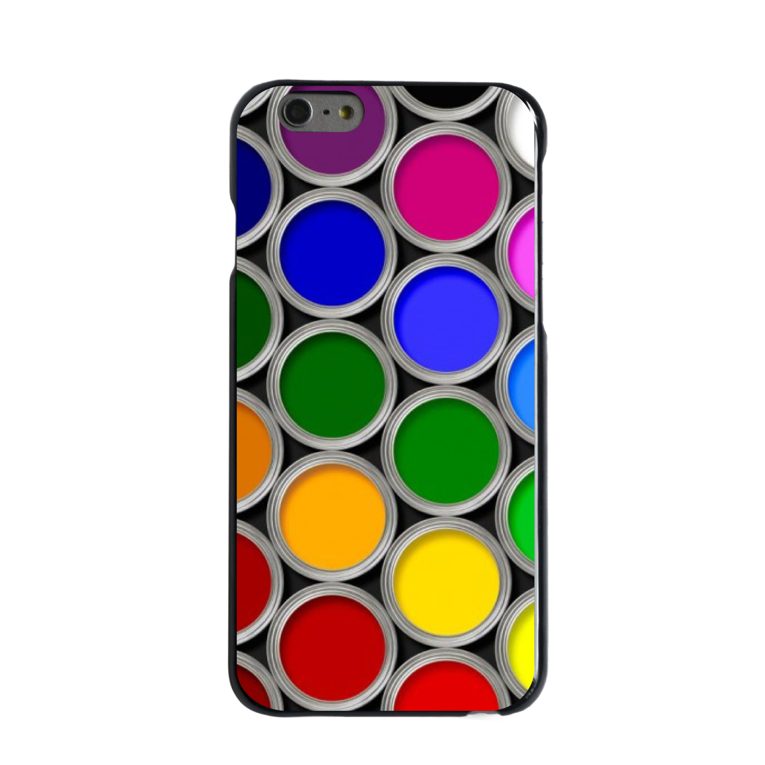 "CUSTOM Black Hard Plastic Snap-On Case for Apple iPhone 6 PLUS / 6S PLUS (5.5"" Screen) - Rainbow Paint Cans"