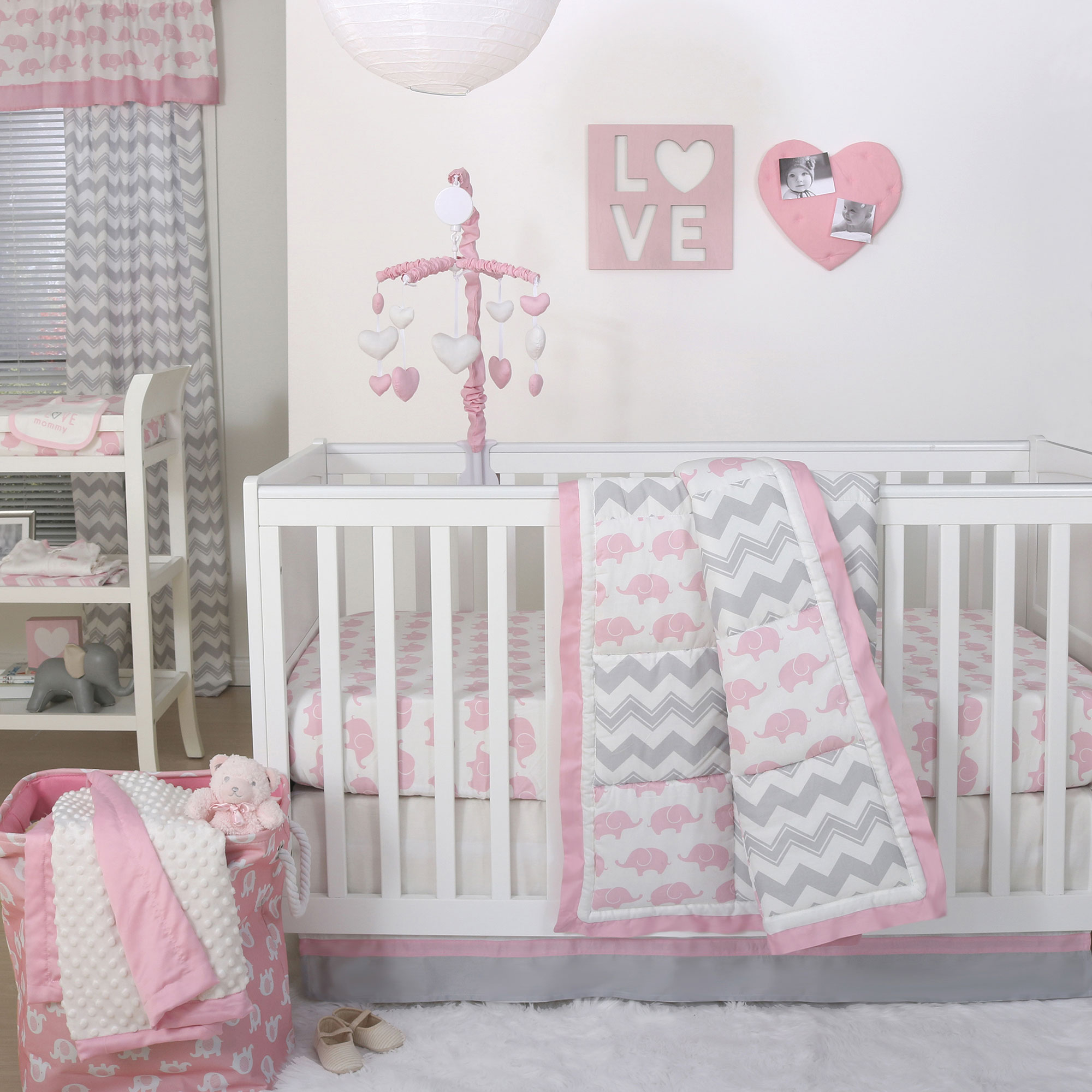The Peanut Shell 3 Piece Baby Crib Bedding Set - Pink Elephant and Grey Zig Zag Patchwork - 100% Cotton Quilt, Crib Skirt and Sheet