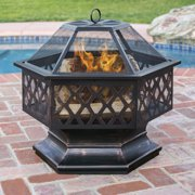 Best Choice Products 24in Hex Shaped Fire Pit for Outdoor Home Garden Backyard - Black