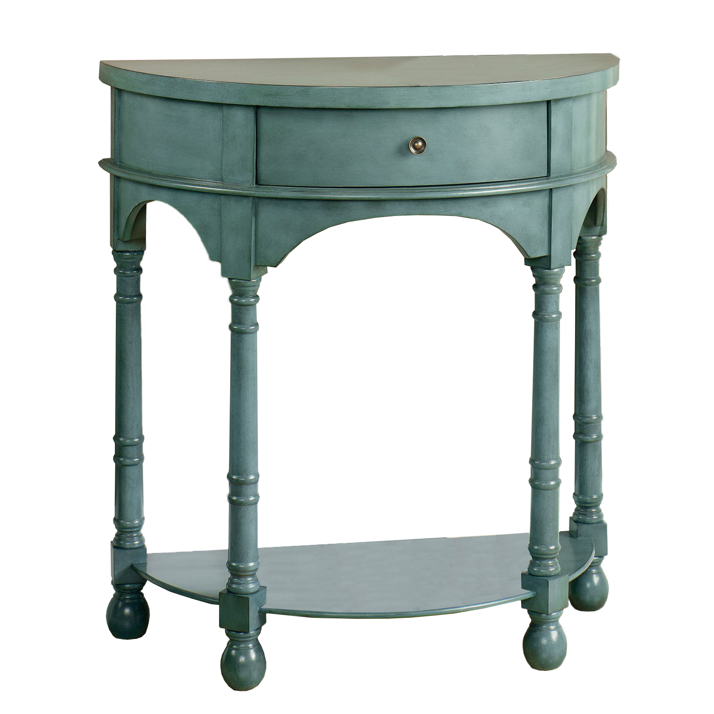 Sauder Harbor View Country Accent Table, Antiqued Teal