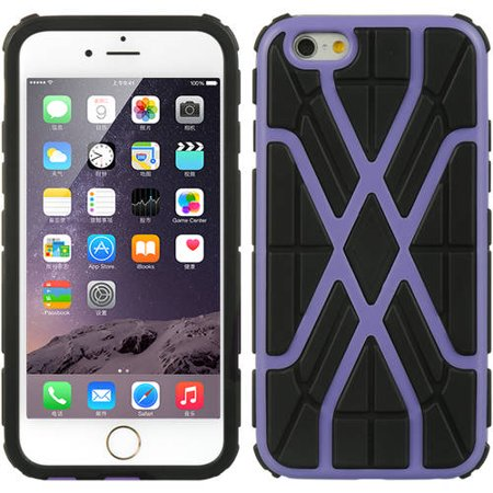 Mundaze Apple iPhone 6/6S Spider Web Double Layered Phone Case, Purple Black