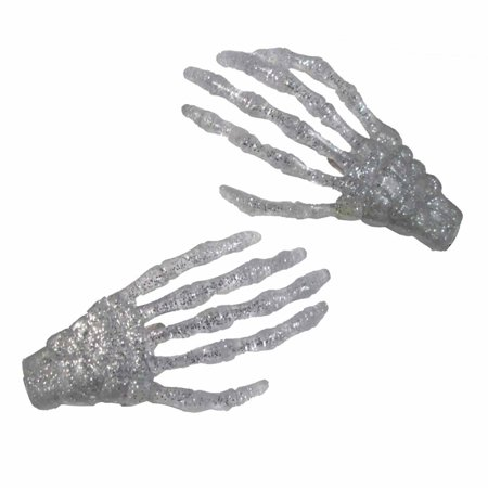 Silver Glitter Skeleton Hands Hair Clip Halloween Horror Accessory Kreepsville - Halloween Skeleton Hair