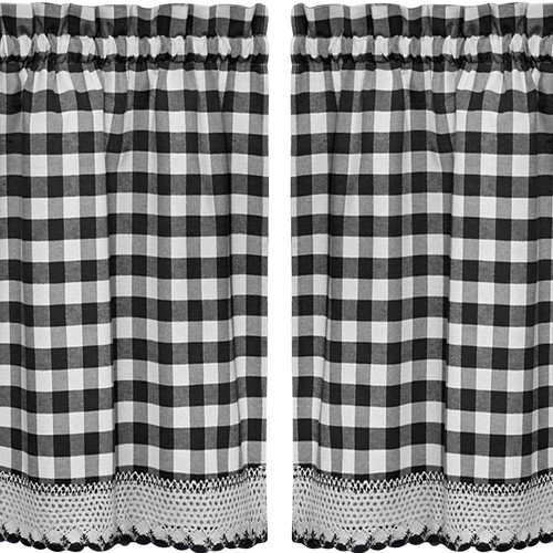 Sweet Home Collection Buffalo Check Kitchen Tier Curtain (Set of 2)