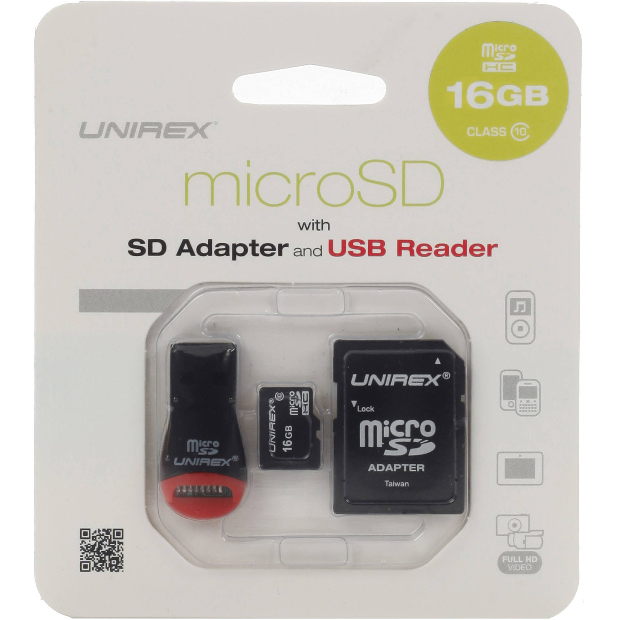 Unirex microSD 16GB Class 10 with USB Reader