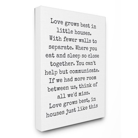 The Stupell Home Decor Collection Love Grows Best in Little Houses Canvas Wall (Best Black And White Art)
