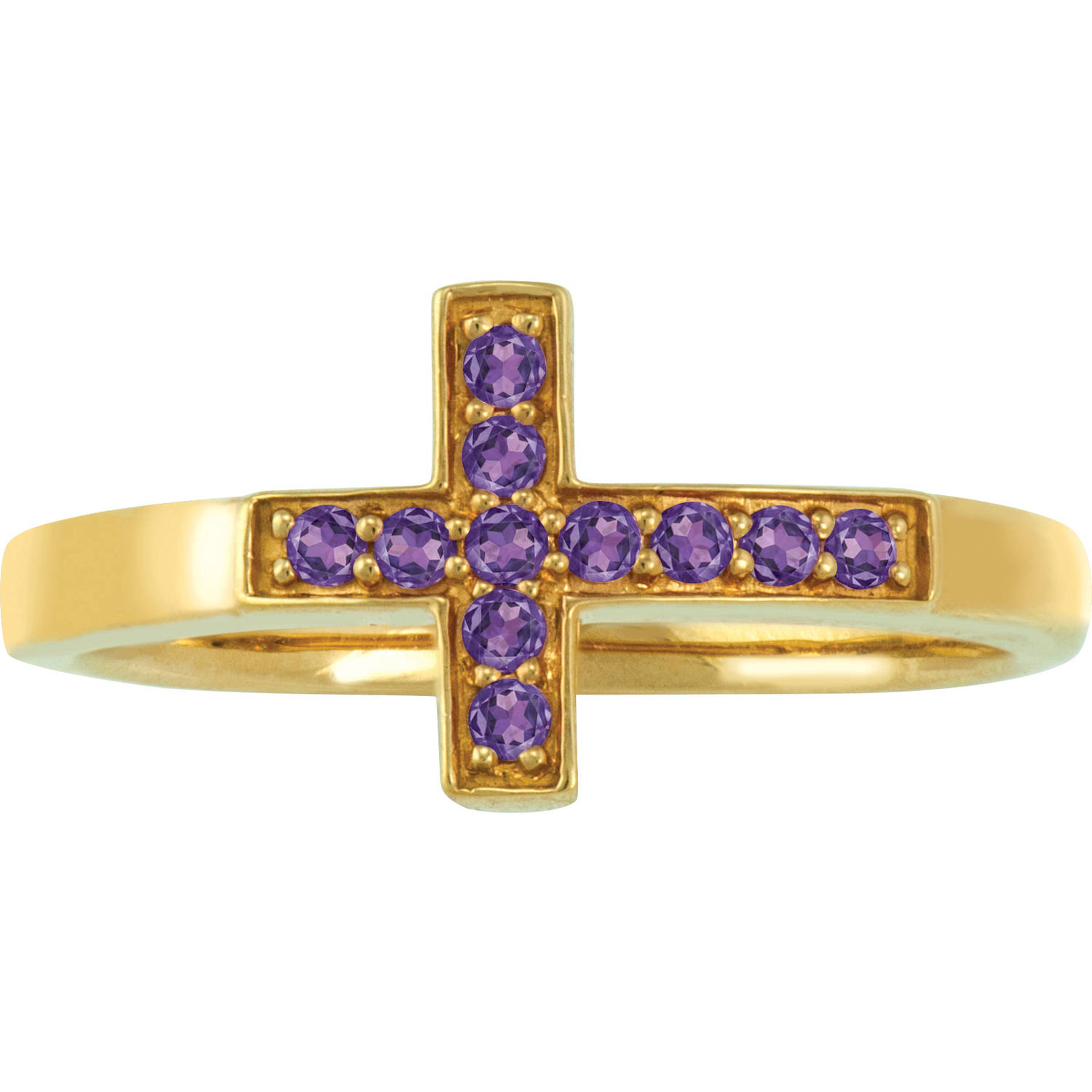 Keepsake Personalized Family Jewelry Sideways Cross Ring available in Sterling Silver, Gold over Silver, Yellow and White Gold