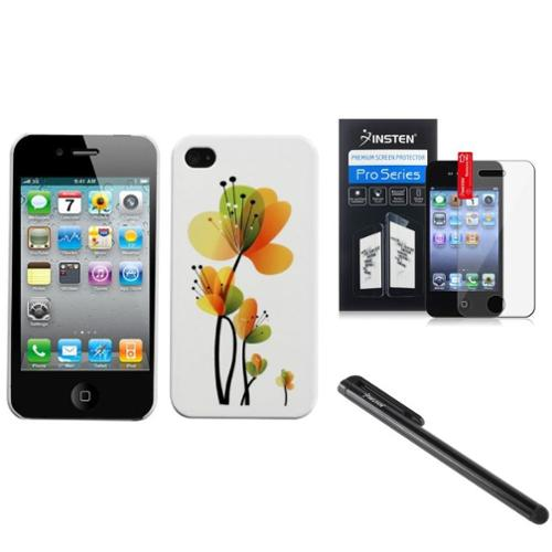 Insten Sunny Springtime Hard Snap-On Back Case Phone Cover For iPhone 4 4s Stylus Film