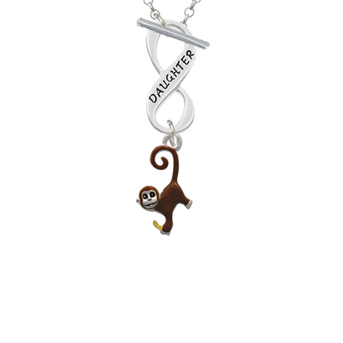 Hanging Monkey Daughter Infinity Toggle Chain Necklace