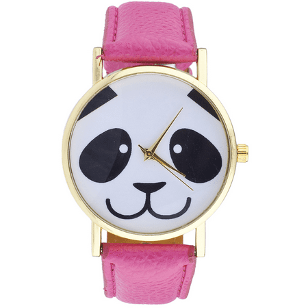 Lux Accessories Gold Tone Black White Pink Animal Lover Panda Face Novelty Watch (Panda Watch)