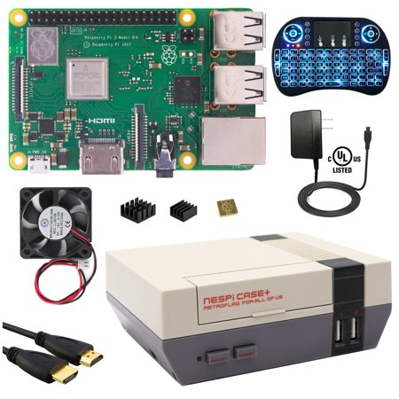 Berryku Raspberry Pi NESPi Media Center Plus Kit - NESPi Case+, Raspberry Pi 3 B+ (B Plus), Power Supply, Backlit Keyboard (B Stock Supply)