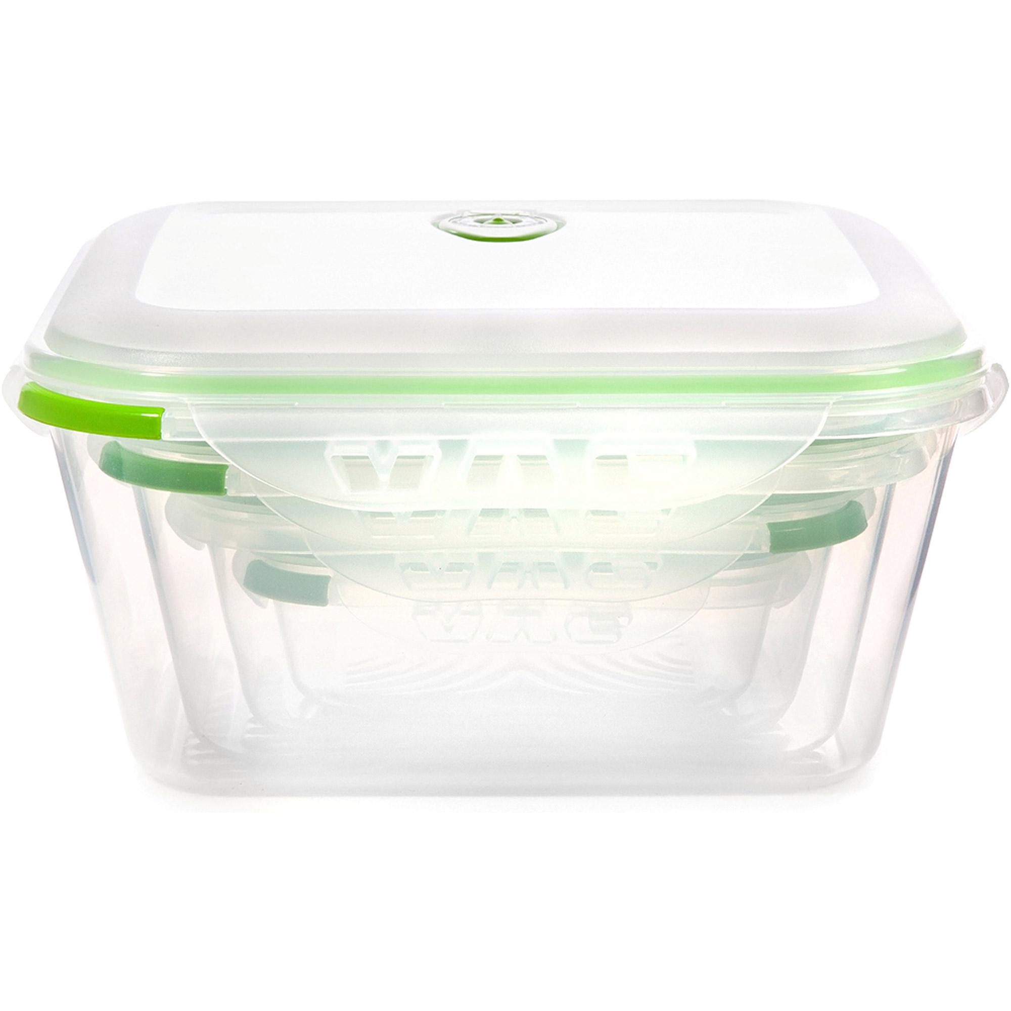 Ozeri INSTAVAC 8 Piece Green Earth Food Storage Container Nesting Set With  Vacuum Seal And