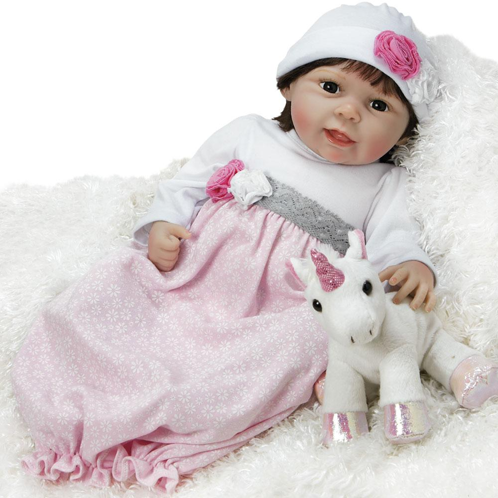 Paradise Galleries Silicone Vinyl Reborn Baby Doll That Looks Real Emma, 21 inch Reborn Girl in Weighted Body, 4-Piece Set