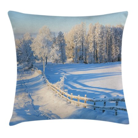 Valley Oak Decor Kit - Farm House Decor Throw Pillow Cushion Cover, Winter Snow Valley with Oak Borders Pines Frozen Pastoral High Cold Lands, Decorative Square Accent Pillow Case, 18 X 18 Inches, White Blue, by Ambesonne
