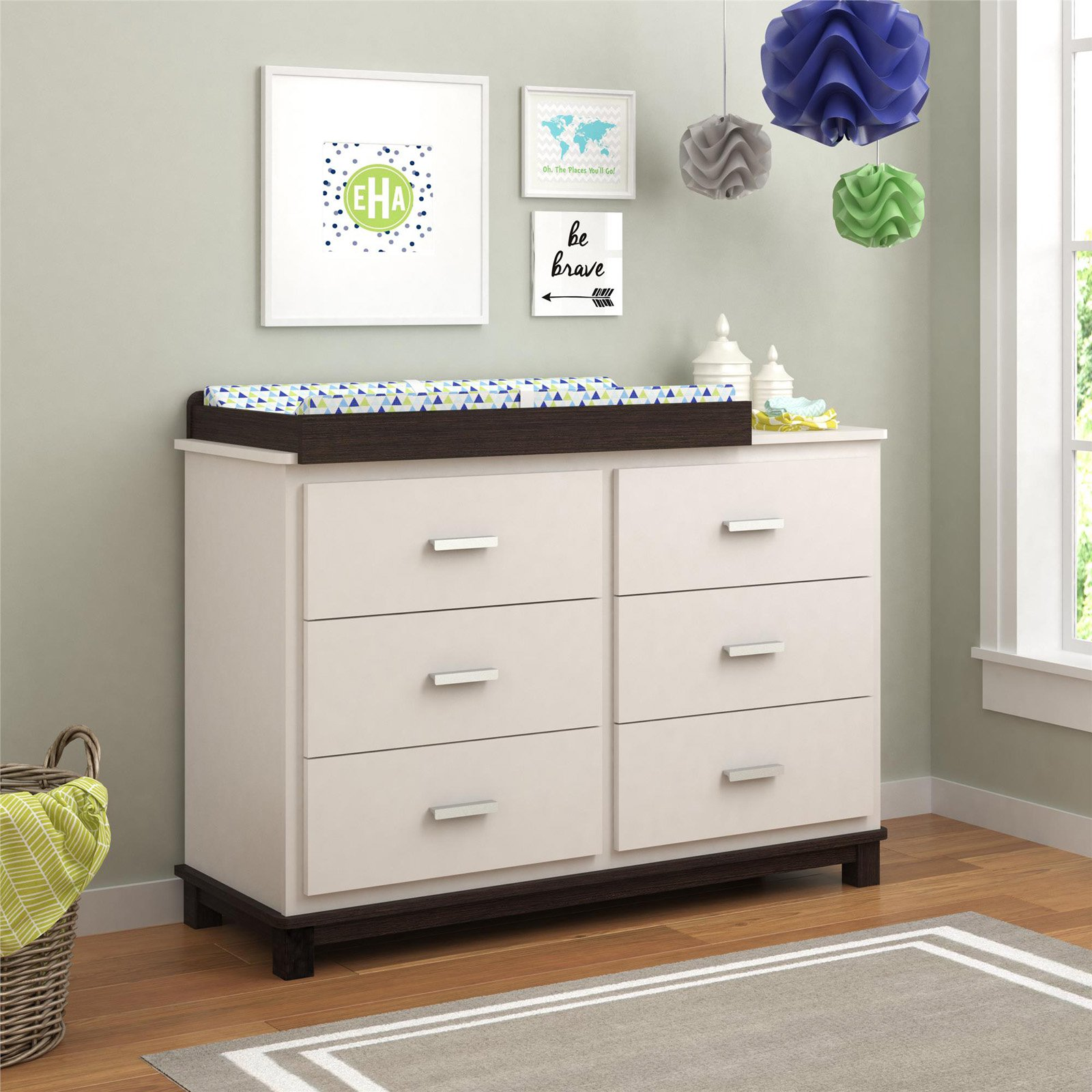 Cosco Leni 6 Drawer Dresser with Changing Table White Stipple by Ameriwood Home