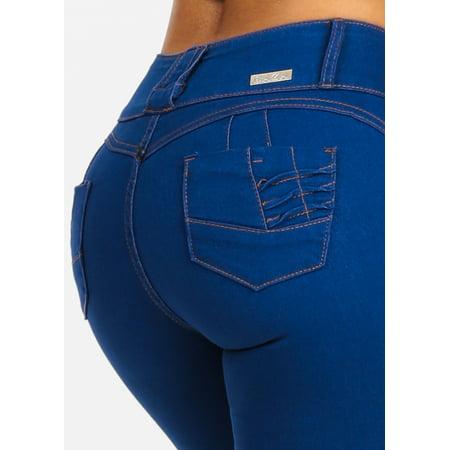 Womens Juniors Light Denim 3 Button Closure Butt Lifting Push Up Levanta Cola W Back Pocket Design Stretchy Skinny Jeans 10415V Button Back Pocket