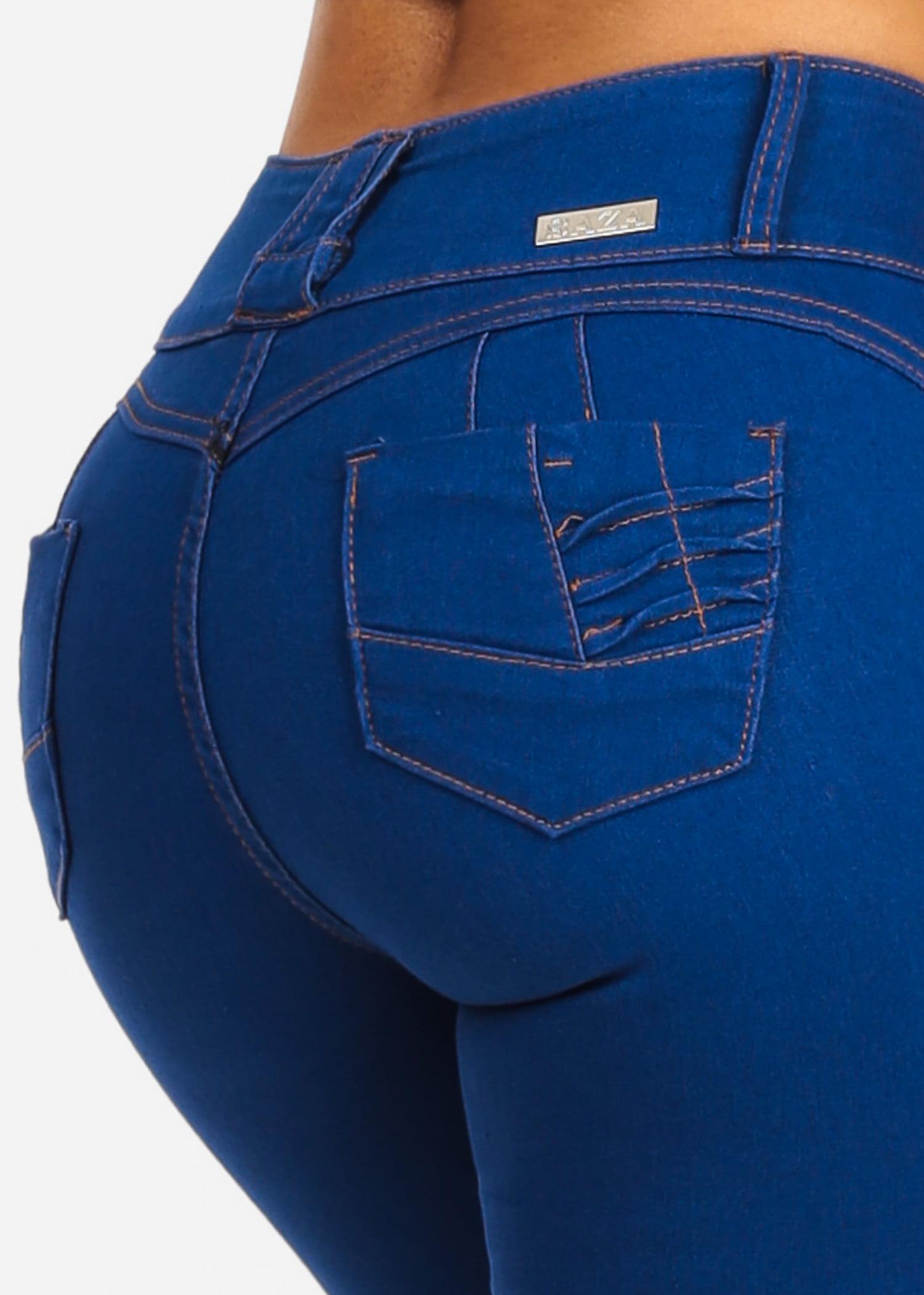 Womens Juniors Light Denim 3 Button Closure Butt Lifting Push Up Levanta Cola W Back Pocket Design Stretchy Skinny Jeans 10415V
