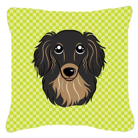 Carolines Treasures BB1275PW1414 Checkerboard Lime Green Longhair Black And Tan Dachshund Fabric Decorative Pillow, 14 x 14 In. - image 1 of 1