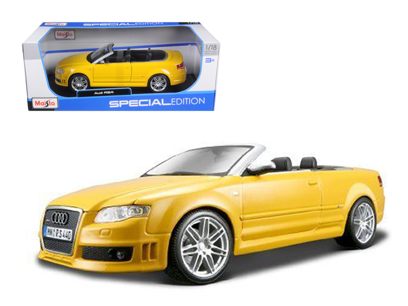 2008 Audi RS4 Convertible Yellow 1 18 Diecast Model Car by Maisto by Maisto
