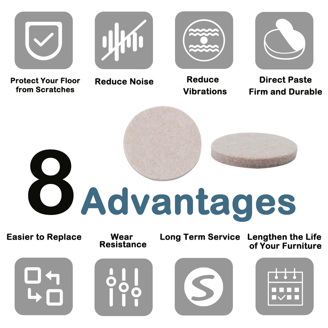 "Furniture Pads Round 1 1/2"" Self-stick Anti-scratch Table Floor Protector 36pcs - image 4 de 7"