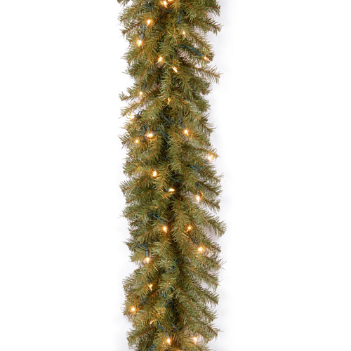 "National Tree Pre-Lit 9' x 10"" Norwood Fir Garland with 50 Clear Lights"