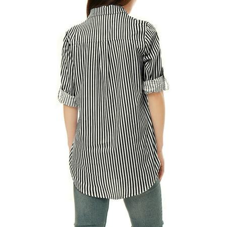 5762053c4b90 Unique Bargains Women's Striped High Low Hem Roll Up Sleeves Shirt Black  White L - image ...