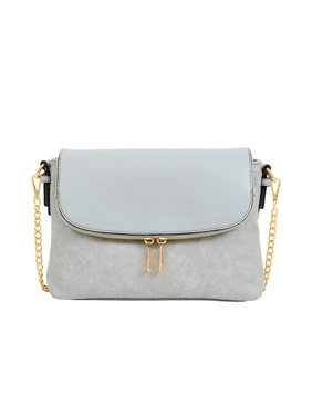 Mellow World Women Small Foldover Crossbody with Wrinkle Faux Leather Texture