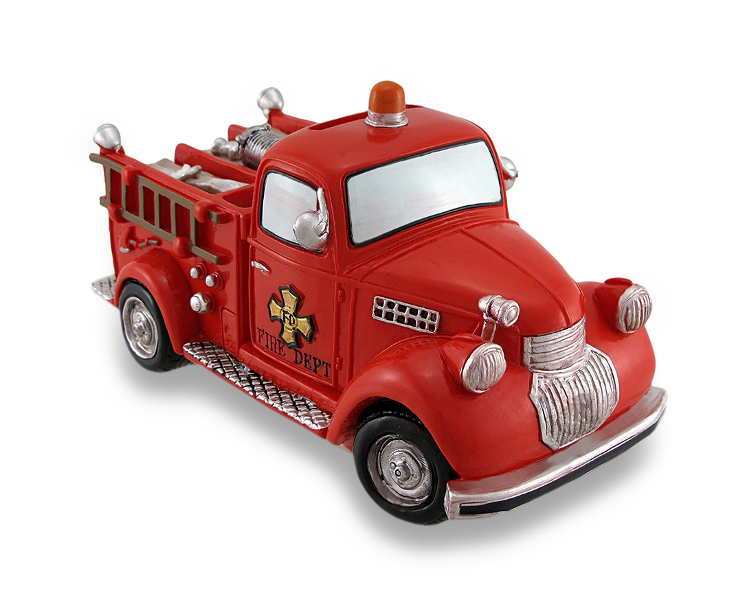 Bright Red Fire Truck Coin Bank Vintage Style Fire Engine Piggy Bank by Turtle King Corporation