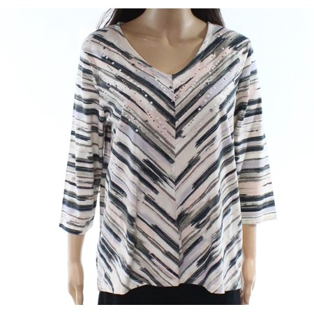 Womens Large Embellished Printed Blouse L