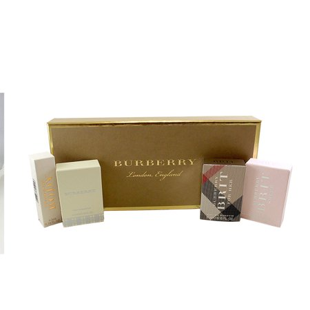Burberry Collection 4 Pc. Mini Gift Set ( Body Eau De Parfum 0.15 Oz. + Burberry Eau De Parfum 0.15 Oz. + Brit Eau De Parfum 0.16 Oz. + Brit Sheer Eau De Toilette 0.16 Oz. ) for Women