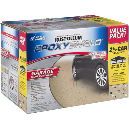 Rust-Oleum EPOXYSHIELD 2.5 Car Garage Floor Coating Kit, Tan - Rust Oleum Floor Coating