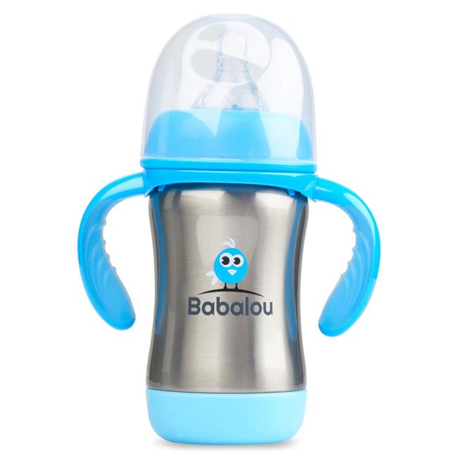 Copia Products BL-180B-BLS 180 ml Babalou Stainless Steel Baby Bottle, Stainless Blue Set