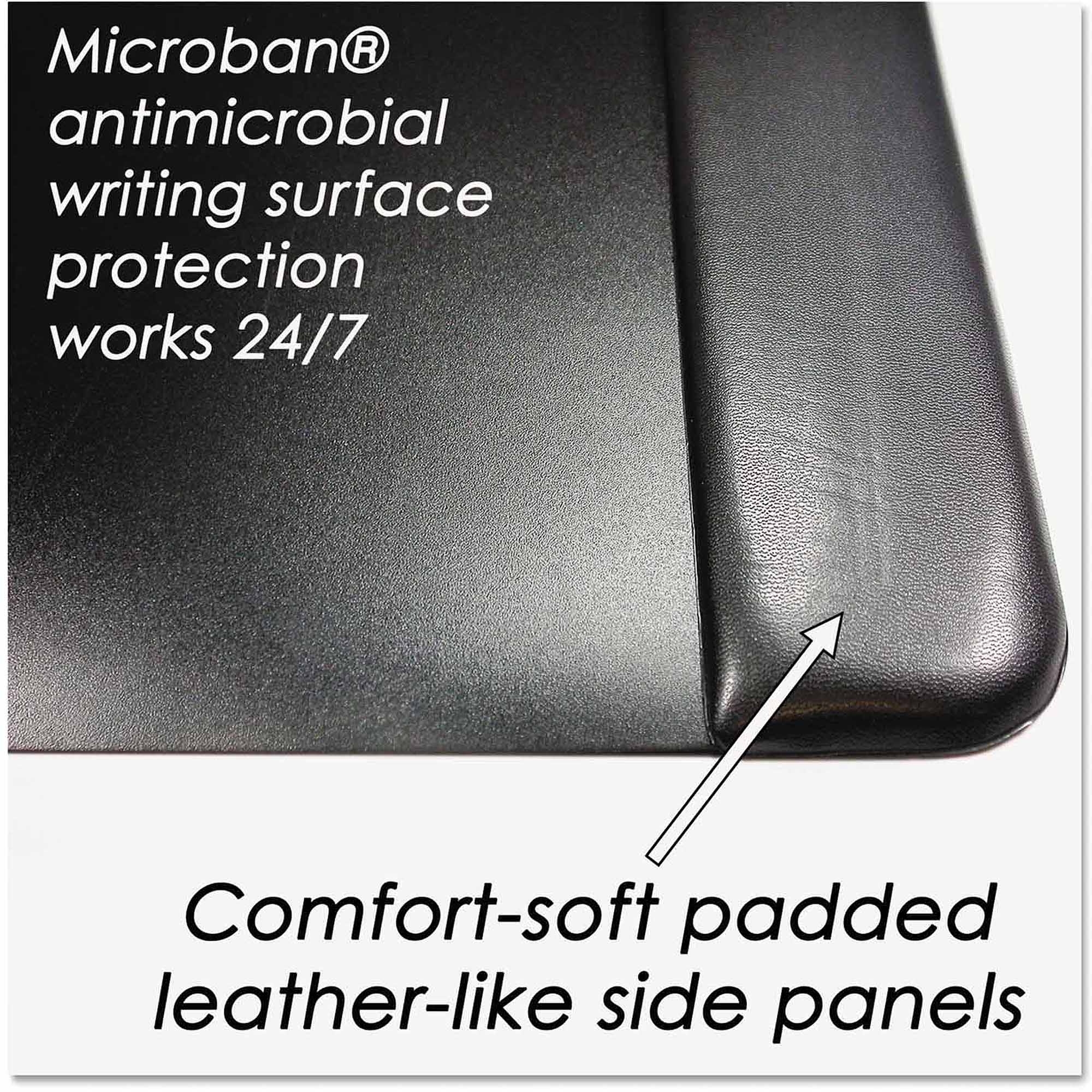 """Artistic 24"""" x 19"""" Executive Desk Pad with Leather-Like Side Panels, Black"""