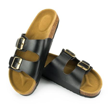 Phoebecat Sandals for Women, Light Weight Cork Platform Double Buckles Slide Sandal for Ladies, Women