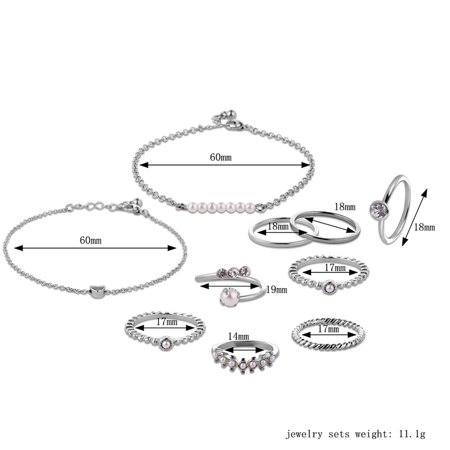 10pcs Jewelry Set Multi Shape 14/17/18/19mm Ring Unique Hand Chain Bracelet for Women Girls's Gift - image 4 of 8