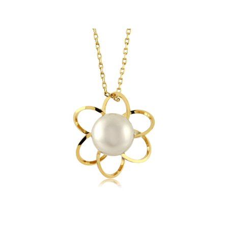 8mm Round Cultured Freshwater Pearl Yellow Gold Plated Flower Pendant 18
