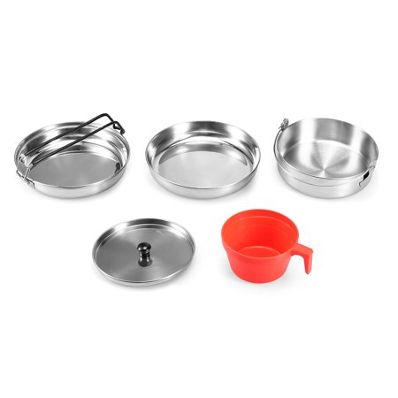 Stainless Steel Camping Cookware Mess Kit Hiking Backpacking Outdoor Lightweight Cooking Set Camping Pot Pan Cup
