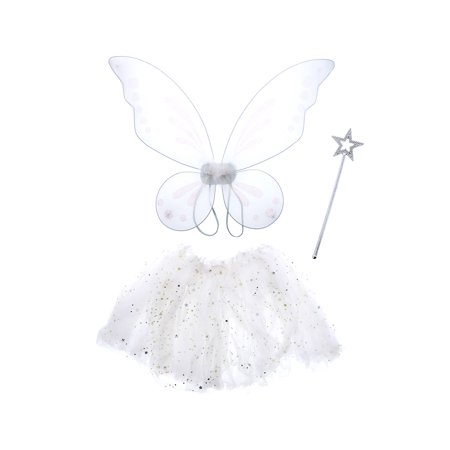 Pretend Play Dress Up Mozlly White Twinkle Fairy Tutu Costume (3pc Set)](White Costume Dress)