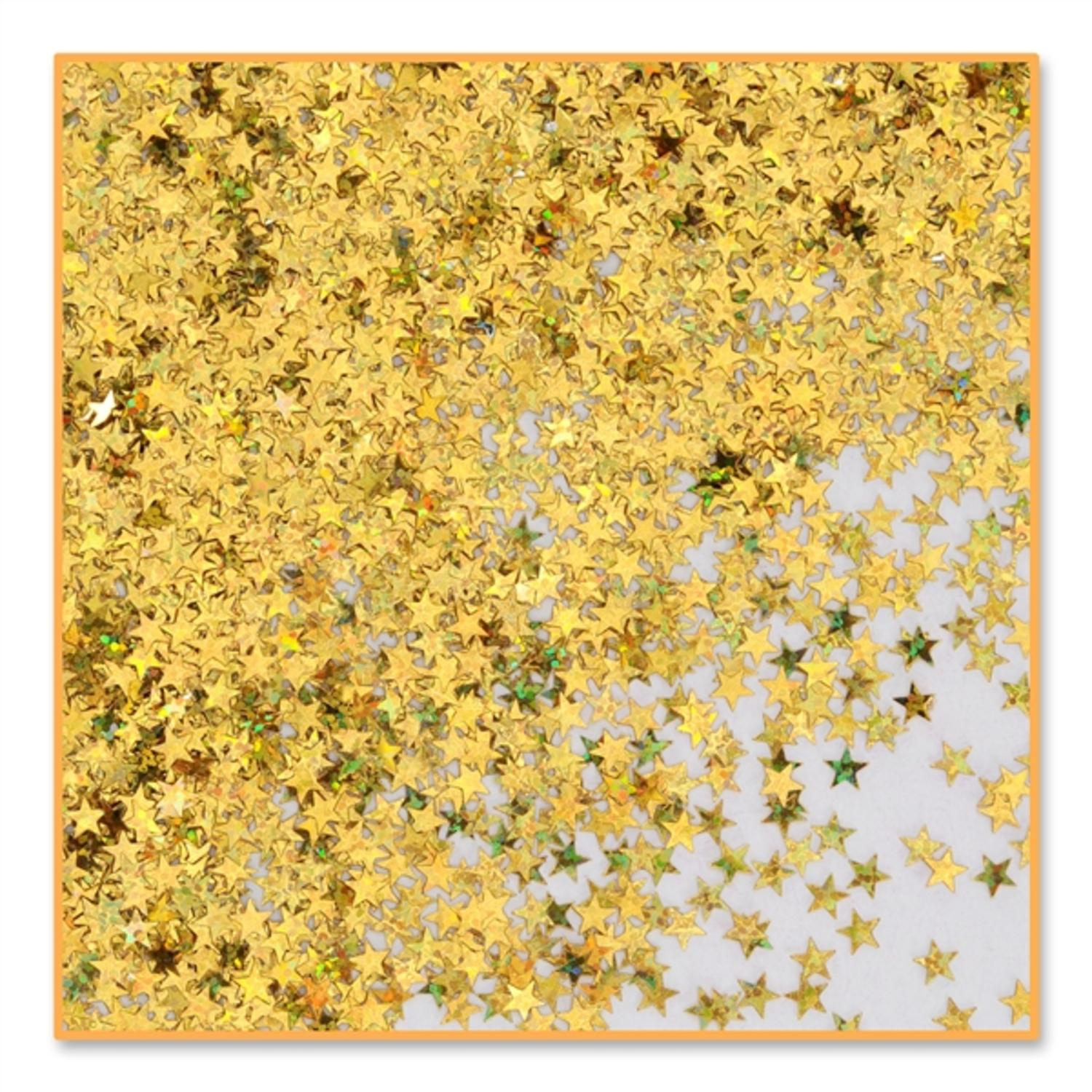 Pack of 6 Metallic Gold Holographic Star Celebration Confetti Bags 0.5 oz.