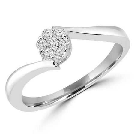 MDR130037-P 0.125 CTW Diamond Bypass Flower Cluster Promise Ring in 14K White Gold ()