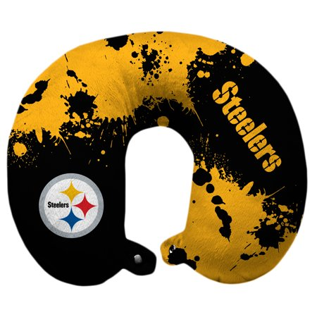 Pittsburgh Steelers Splatter Polyester Snap Closure Travel Pillow - Black - No Size