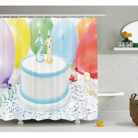 21st Birthday Decorations Shower Curtain Legal Age Of USA 21 Party Cake With Colorful Balloons