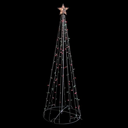 6' Red and Green Lighted Outdoor Twinkling Christmas Tree Outdoor Decoration