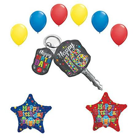 Sweet 16 Birthday Party Supplies Car Keys Balloon Bouquet - Sweet 16 Birthday Balloons