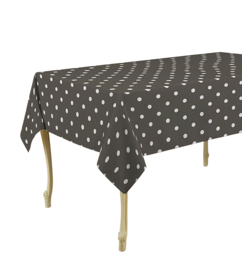 "Tablecloth Dark Grey Dots Stain Resistant, Stain Resistant, Washable, Liquid Spills bead up, 60 x 80-Inch Rectangular, Seats 8 to 10 People (Other Size Available: 63"" Round, 60 x 95"", 60 x 120"")."