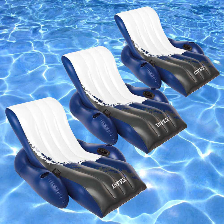 Intex Floating Recliner Inflatable Lounge for Swimming Pools, Pack of 3