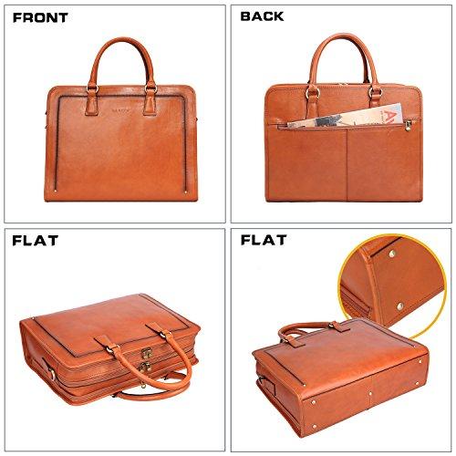 Banuce Womens Full Grains Leather Briefcase Messenger Satchel Bag 14 Laptop Case LDOFYBW005-BN